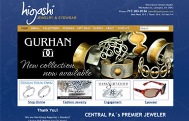Higashi Jewelry website design Harrisburg PA1 Harrisburg's classiest jewelry store relaunches their website with M Street.