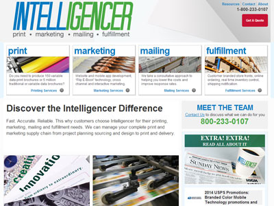 Intelligencer Printing Marketing Fulfillment Website Announcing a new website for Intelligencer