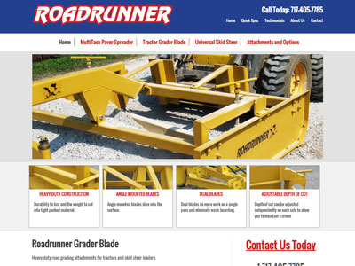 Road Runner Grading Blade Website A New Website For RoadRunner Construction Equipment