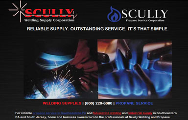 Scully Welding Propane industrial website design Pennsylvania Propane Delivery and Welding Supplies just got a lot easier with the relaunch of Scully Welding and Propane´s new website.