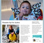 Thumbs Up For Ayden Small M Street is proud to support Ayden Murray